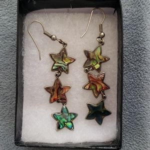 Star abalone and silver dangle earrings